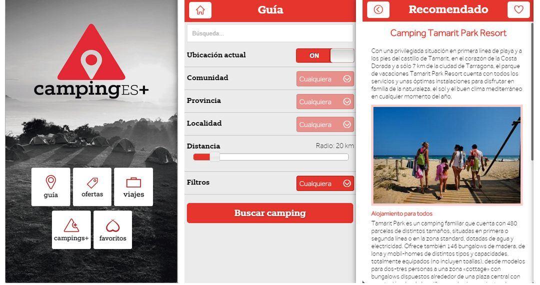 Busca un camping con la aplicación CampingEs+