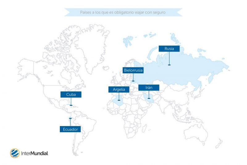 Infografía que incluye los países a los que es obligatorio viajar con seguro de viaje