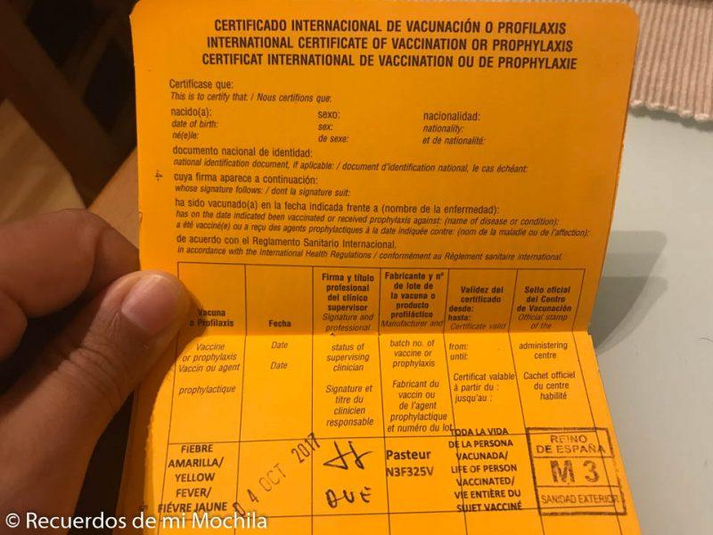 Certificado de vacunación para viajar a Madagascar